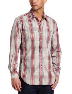 Robert Graham Mens Strike Long Sleeve Shirt, Red, Small
