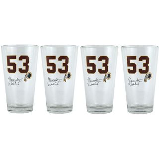 Washington Redskins #53 Marcus Washington Pint Glasses (Set of 4