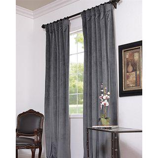 Natural Grey Velvet Blackout 96 Inch Curtain Panel