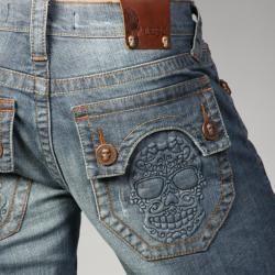 Laguna Beach Jean Co. Mens Raw Blue Skull Pocket Slim Jeans