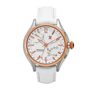Timex Womens Perpetual Calendar White Leather Strap White Dial Watch