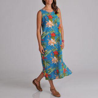 La Cera Womens Sleeveless Side button Floral print Dress