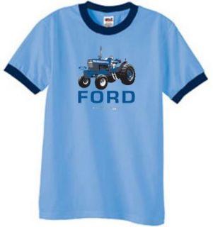FORD TRACTOR 9000 Classic Ringer T Shirt  Carolina Blue
