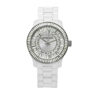 Michael Kors Womens Classic White Ceramic Silver Dial Watch