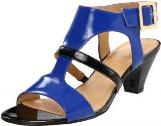 Nine West Womens Fernadale T Strap Sandal,Blue/Black,12 M US Shoes