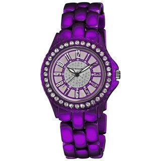 Vernier Womens Fashion Purple Soft touch Dazzling Dial Bracelet Watch