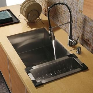 Vigo Farmhouse Undermount Stainless Steel Kitchen Sink Set