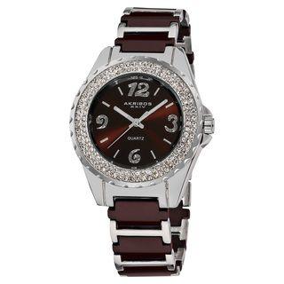 Akribos XXIV Womens Quartz Crystal Ceramic Bracelet Watch