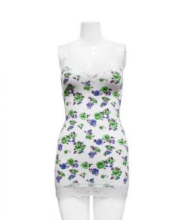Ladies White Blue Green Rose Printed Top with Lace Top