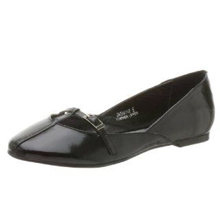 N.Y.L.A. Womens Jasmine T Strap Flat,Black Patent,7 M Shoes
