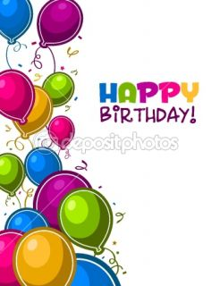 Happy Birthday Balloons Card  Vector stock © Michel Marcoux #7536922
