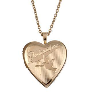 Goldplated Brass Godmother Engraved 20 mm Heart Locket Necklace