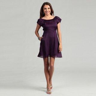 BCBG Generation Womens Ultraviolet Pleated Sleeves Dress