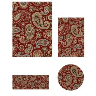 Impressions Collection Red 4 piece Rug Set