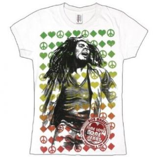 Bob Marley   One Love Label Juniors T Shirt Clothing