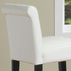 ETHAN HOME Bennett 29 inches White Faux Leather Bar Stools (Set of 2