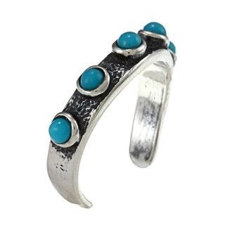 Southwest Moon Sterling Silver Turquoise Beaded Toe Ring