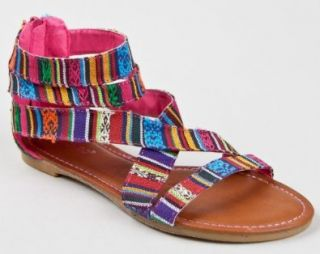 Bamboo Maniac 74 Tribal Stripe Fabric Sandal Shoes