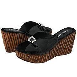 Dezario Yvette Black Patent Sandals (Size 11)