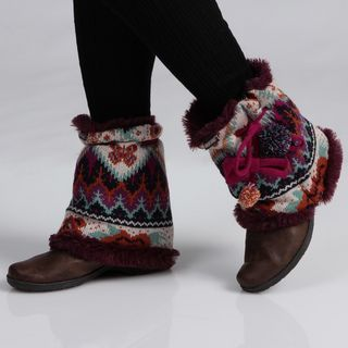 Muk Luks Womens Boho Pommy Boot Sweaters