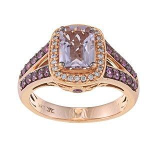 Encore by Le Vian 14k Gold Pink Amethyst, Sapphire and 1/8ct TDW