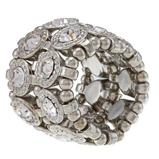 Silvertone Clear Crystal 2 row Disc Stretch Fashion Ring