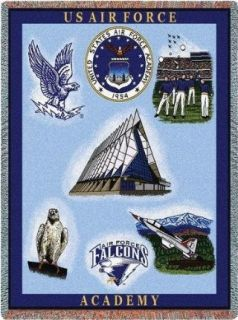 US Air Force Acedemy Collage II Throw   70 x 54 Blanket
