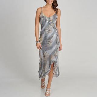 Soulmates Womens Grey Branch Print Silk Blend Long Dress