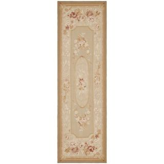 Hand knotted French Aubusson Taupe Wool Rug (8 x 10)