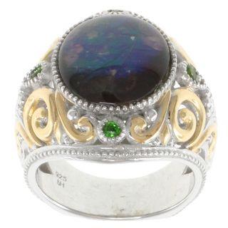 Michael Valitutti Two tone Silver Ammolite Ring