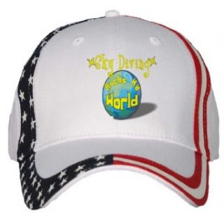 Sky Diving Rocks My World USA Flag Hat / Baseball Cap
