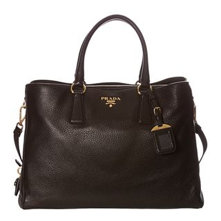 Prada Cervo Black Pebbled Leather Tote Bag