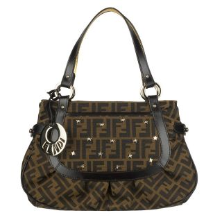 Fendi Chef Logo Jacquard Studded Shoulder Bag