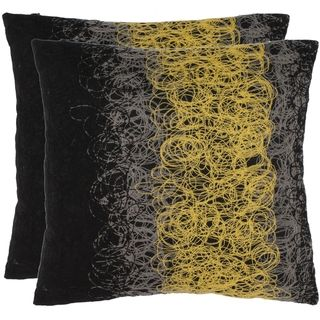 Swirls 18 inch Black/Yellow Decorative Pillows (Set of 2)
