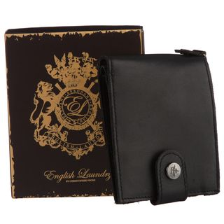 English Laundry Mens Black Snap Closure Wallet