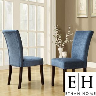 ETHAN HOME Royal Blue Chenille Parson Chairs (Set of 2)