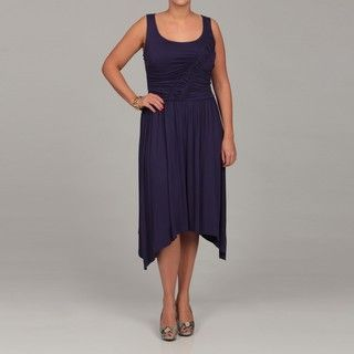 London Times Womens Plus Size Sleeveless Jersey Dress