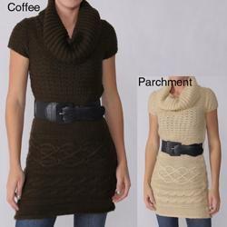 Ci Sono by Adi Juniors Short sleeve Cable Sweater Tunic