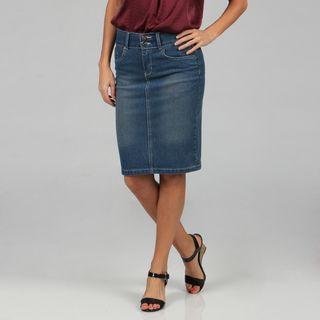 Tabeez Womens Blue Stretch Denim Embroidered Skirt