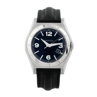 Gucci Mens Pantheon Black Leather Strap Watch