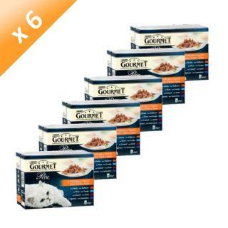 Lot de 6   Pâtée pour chat Gourmet Perle   72 sachets de 85 grammes