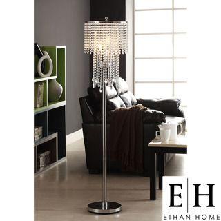 ETHAN HOME Crystal Rain 3 light Chrome Crystal Floor Lamp