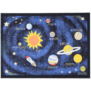 Printed Kids Solar System Black and Blue Area Rug (45 x 61