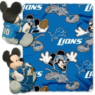 NFL Detroit Lions Mickey Mouse Pillow with Fleece Throw