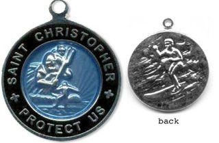 St. Christopher Surf Medal   Small Baby Blue/ Black