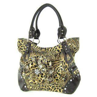 Leopard Animal Print Raised 3d Flower Purse Shoulder Handbag Shoes