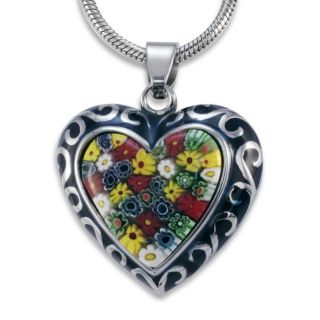 Stainless Steel Colored Glass and Blue Resin Heart Necklace