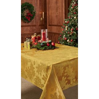 Christmas Dining 70 inch Round Gold Damask Tablecloth