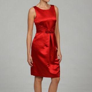 Tahari Womens Red Rosette Detail Sheath Dress