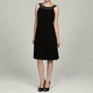 Jessica Howard Womens Black Beaded Neck Dress FINAL SALE